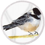 My Little Chickadee Bird Art Watercolor And Gouache And Ink Painting By Kmcelwaine Round Beach Towel