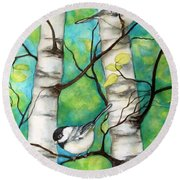 Spring Chickadees Round Beach Towel by Inese Poga