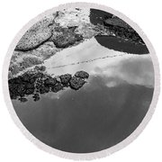 Spring Clouds Puddle Reflection Round Beach Towel
