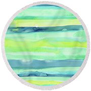 Spring Colors Pattern Horizontal Stripes Round Beach Towel