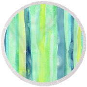 Spring Colors Stripes Pattern Vertical Round Beach Towel