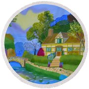 Round Beach Towel featuring the painting Spring Cottage by Magdalena Frohnsdorff