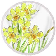 Round Beach Towel featuring the painting Spring Daffodils by Cathie Richardson