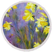 Round Beach Towel featuring the painting Spring Daffodils by Claire Bull