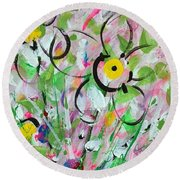 Spring Dance Round Beach Towel by T Fry-Green