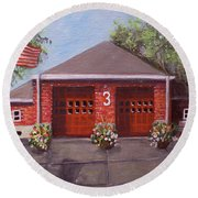 Spring Day At Willow Fire House Round Beach Towel