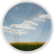 Spring Day Clouds Round Beach Towel