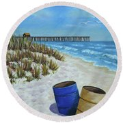 Spring Day On The Beach Round Beach Towel by Val Miller