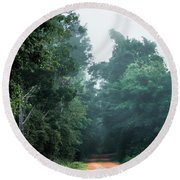 Round Beach Towel featuring the photograph Spring Dirt Road by Shelby Young