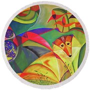 Spring Dog Round Beach Towel