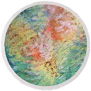 Round Beach Towel featuring the painting Spring Ecstasy by Nicolas Bouteneff