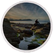 Spring Evening Round Beach Towel by Randy Hall