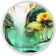 Round Beach Towel featuring the painting Spring Fall by Anil Nene
