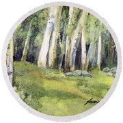 Round Beach Towel featuring the painting Spring Field by Laurie Rohner