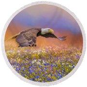 Spring Flight Bald Eagle Art Round Beach Towel