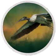 Round Beach Towel featuring the photograph Spring Flight by Marvin Spates