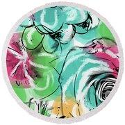 Round Beach Towel featuring the mixed media Spring Floral 9- Art By Linda Woods by Linda Woods
