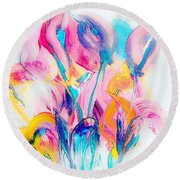 Spring Floral Abstract Round Beach Towel