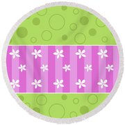 Spring Flower And Circles Background Round Beach Towel by Serena King