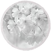 Round Beach Towel featuring the photograph Spring Flower Blossoms Soft Gray by Jennie Marie Schell