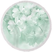 Round Beach Towel featuring the photograph Spring Flower Blossoms Teal by Jennie Marie Schell