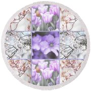 Round Beach Towel featuring the photograph Spring Flower Collage. Shabby Chic Collection  by Jenny Rainbow