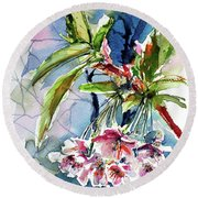 Round Beach Towel featuring the painting Spring Flower by Kovacs Anna Brigitta