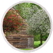 Spring Flowers And The Barn Round Beach Towel