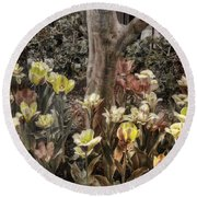 Round Beach Towel featuring the photograph Spring Flowers by Joann Vitali