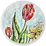 Spring Flowers Round Beach Towel