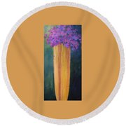 Round Beach Towel featuring the painting Spring Flowers by Nancy Jolley