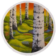 Spring Forest Round Beach Towel