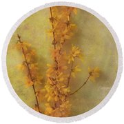 Spring Forsythia Round Beach Towel