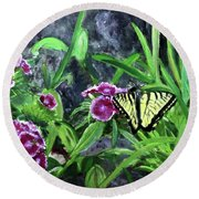 Round Beach Towel featuring the painting Spring Garden by Donna Walsh