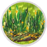Round Beach Towel featuring the painting Spring Garden by Holly Carmichael