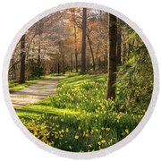 Spring Garden Path Round Beach Towel