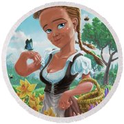 Spring Girl Round Beach Towel