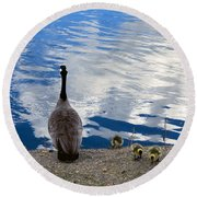 Spring Goslings And Mother Goose Round Beach Towel