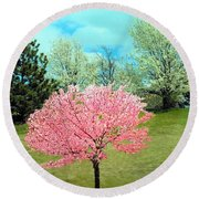 Spring Has Sprung And Winter's Done Round Beach Towel