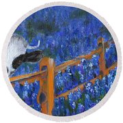 Round Beach Towel featuring the painting Spring Has Sprung by Jamie Frier