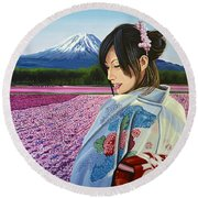 Spring In Japan Round Beach Towel