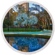 Round Beach Towel featuring the photograph Spring In Madison Square Park by Chris Lord
