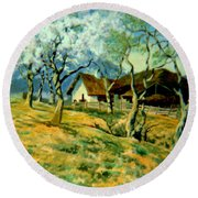 Round Beach Towel featuring the painting Spring In Poland by Henryk Gorecki