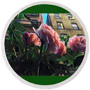 Spring In The City - Garden Of Roses Round Beach Towel by Miriam Danar