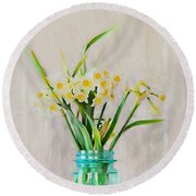Round Beach Towel featuring the photograph Spring In The Country by Benanne Stiens