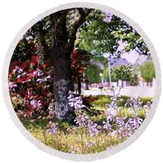 Spring In The Yard Round Beach Towel