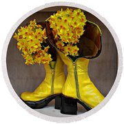 Round Beach Towel featuring the photograph Spring In Yellow Boots by AmaS Art