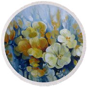 Round Beach Towel featuring the painting Spring Inflorescence by Elena Oleniuc