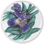Spring Iris Bloom Round Beach Towel by Clyde J Kell