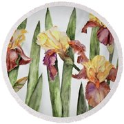 Spring Iris Round Beach Towel